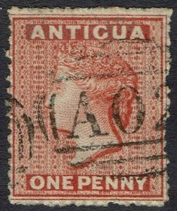 ANTIGUA 1863 QV 1D VERMILION WMK STAR USED