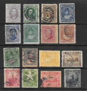 HAWAII Lot of 16 Different Stamps