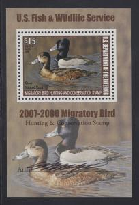 US Sc RW74b MNH. 2007 $15 Ringed Neck Ducks Artist Signed Souvenir Sheet