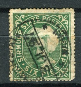 INDIA; SIRMOOR 1885-90s early Raja Parkash local issue fine used 6p. value