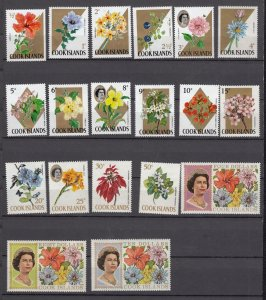 J28389, varies 1967-9 cook islands mnh #199//220 queen/flowers
