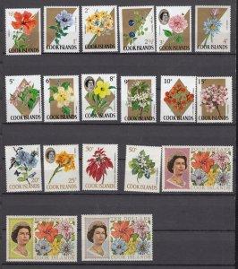 J28389, varies 1967-9 cook islands mnh #199//220 queen/flowers