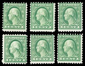 Six Scott 543 1920 1c Washington Perf 10 Mint NH Cat $10.50