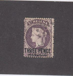 ST HELENA KKMK77 # 37 VF-LIGHT USED 3p SURCHARGED CAT VALUE $13.50