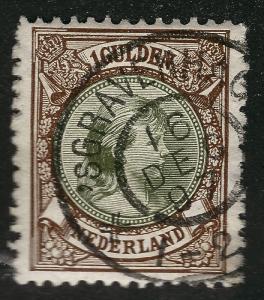 Beautiful Netherlands 1891 #52 Used F-VF Cat $30...Valuable cancel!