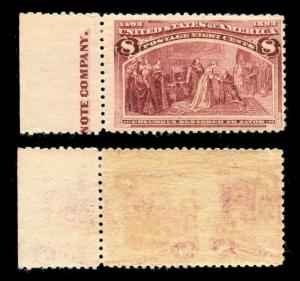 momen: US Stamps #236 Var. Printed on Both Sides Mint NH OG Rare PF Cert
