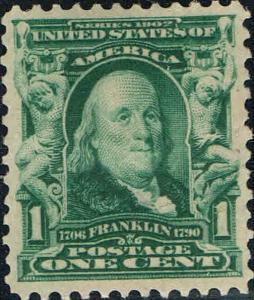 #300  1903 1 CENT FRANKLIN PERF 12 REGULAR ISSUE MINT-OG/H--XF