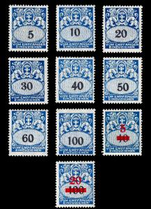 Danzig 1923-38 Postage dues Sc J30-42 (less 32, 39, 41)