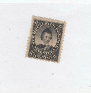 NEW BRUNSWICK # 11 VF-MH 17cts 1860 PRINCE OF WALES /BLACK/CENTS ISSUE CV $75