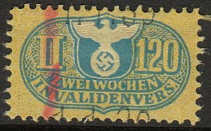 Stamp Germany Revenue WW2 3rd Reich War Third Reich Medical II 120 Invalid Used