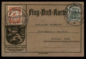 Germany 1912 Zeppelin Schwaben Si11.2.21 Vg Frankfurt Airmail Cover Flugpo 89361
