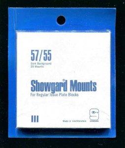 Showgard Black Stamp Mounts  57/55 PreCut  (25 count)