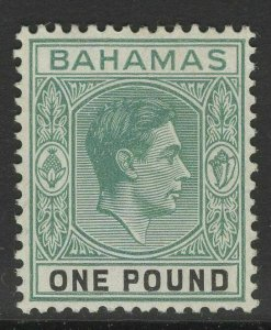 BAHAMAS SG157b 1944 1 GREY-GREEN & BLACK ORD PAPER MTD MINT