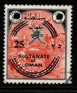 OMAN SG144 1972 25b on 40b BLACK & ORANGE FINE USED