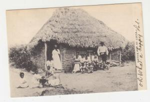 St. LUCIA, 1907 ppc. Native Hut, KEVII 1d., CASTRIES to New York.
