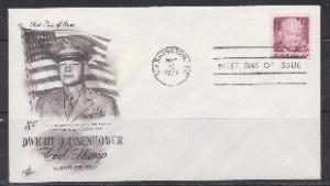 1395 Dwight Eisenhower coil single Unaddressed ArtCraft FDC