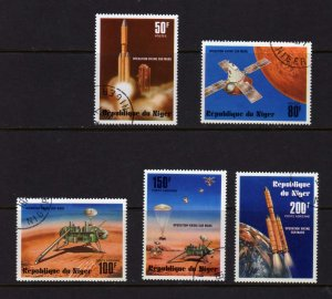 Niger  #389-90 & C283-5 Space Aviation Cpl. set CTO Used Rockets 1977