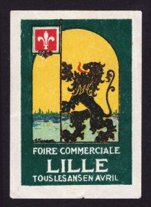 REKLAMEMARKE POSTER STAMP FOIRE COMMERCIALE LILLE TOUS LES ANS EN AVRIL 1926