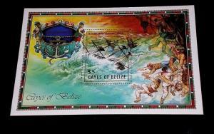 CAYES OF BELIZE #27, 1985, SHIPWRECKS, SOUVENIR SHEET, MNH, NICE LQQK