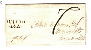 GB Wales Cover *BUILTH/187* MILEAGE Monmouth EL Entire Letter 1811{samwells}ZB73