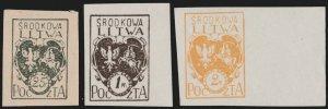 CENTRAL LITHUANIA / MITTELLITAUEN - 1921 Mi.20B/22B Mint** - ref.881d
