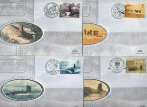 2001 GB SUBMARINES SET OF 4 BENHAM SILK DAY COVERS+ RARE SELF ADHESIVE COVER