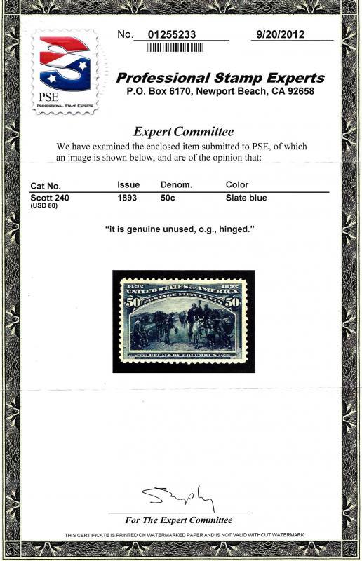 240 Mint,OG,H... PSE Cert... SCV $425.00