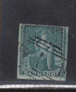 Barbados #2a Used Fine Slightly Oxydized **With Certificate**