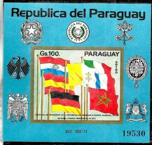 PARAGUAY 1973 FLAGS COUNTRIES VISITED BY PRESIDENT S/SHEET Mi BL 214 MNH