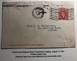 1951 Oxford England Blood Transfusion Postcard Postal Stationery Cover Local