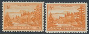 Norfolk Island SG 1 and 1a  ord gum and on white paper  MNH 1947/59 issue se...