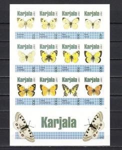 Karjala R13-R24 Russian Local. Butterflies on an IMPERF sheet. *