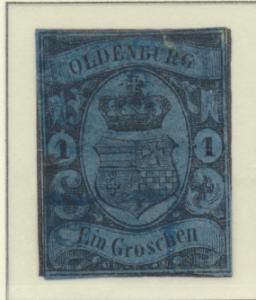 Oldenburg (German State) Stamp Scott #6, Used, Cut Close, Flaws - Free U.S. S...