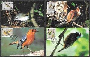 VENDA SOUTH AFRICA STAMPS 1991, SET OF 4 MAXI CARDS MC MAXIMUM CARDS BIRDS