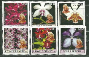 St. Thomas & Prince Islands MNH 1481A-F Marilyn Monroe & Orchids SCV 9.00