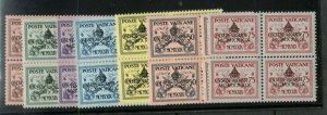 Vatican City #61 - #67 Very Fine Never Hinged Set In Blocks