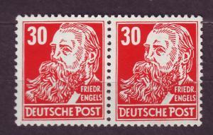 J14672 JLstamps 1953 germany DDR mnh pair #130 engels wmk 297