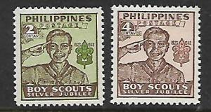 PHILIPPINES 528-529 MINT HINGED BOY SCOUTS SET 1948