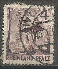 RHINE PALATINATE, 1949, used 4pf, Devil's Table Scott 6N31
