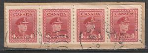 #281 Canada Used Coil strip of 4 on paper George VI
