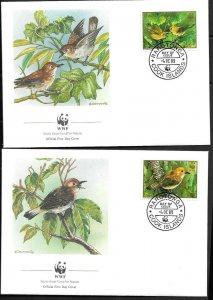 1989    COOK ISLANDS  -  RAROTONGA - BIRDS - WWF - SET OF 4 FDC - USED