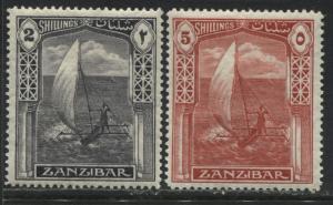 Zanzibar 1936 2 and 5 shillings mint o.g.