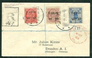 ICELAND 1903, Three color IGILDI reg cover to Germany