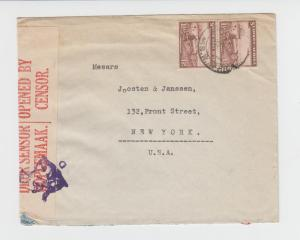 SOUTH WEST AFRICA TO USA 1942 DUAL CENSOR COVER, 3d RATE (SEE BELOW)