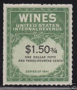 RE195 Nice mint wine stamp cv $ 50 ! see pic !