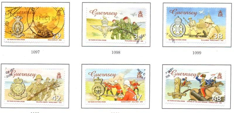 Guernsey Sc 886-91 2006 150 yrs Victoria Cross stamps used