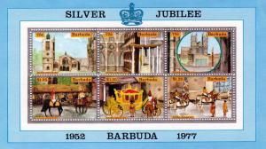 BARBUDA 1977  Scott  # 265 MNH QE2 Silver Jubilee S/S