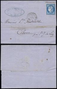 France 1873 Postal History Rare Cover + Content Bayonne Ciboure ambulant canc...