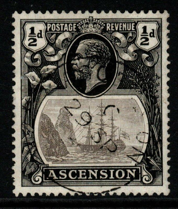ASCENSION SG10c 1924 ½d GREY-BLACK & BLACK WITH CLEFT ROCK FINE USED