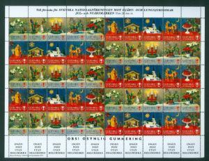 Sweden. Christmas Seal 1977/78 Mnh. Full Sheet Unfolded. Christmas Decorations